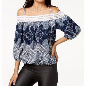 Juniors' Crocheted Cold-Shoulder Top